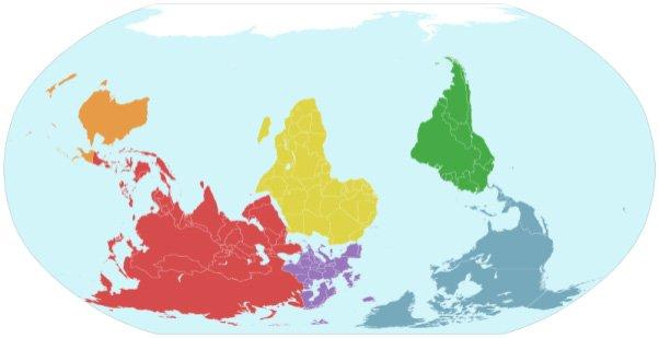 Mapa świata do góry nogami