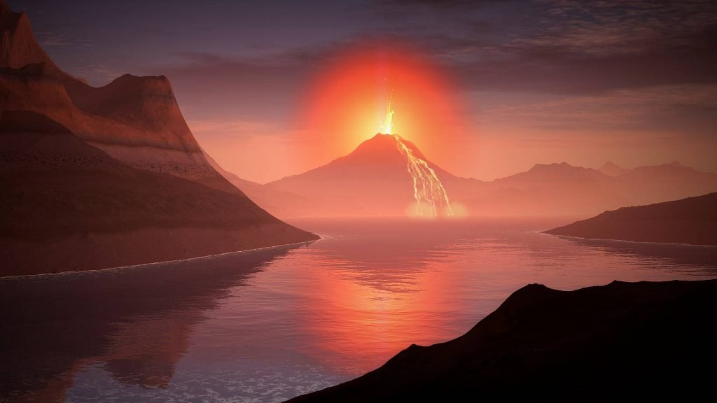 Wybuch wulkanu - wizja artysty