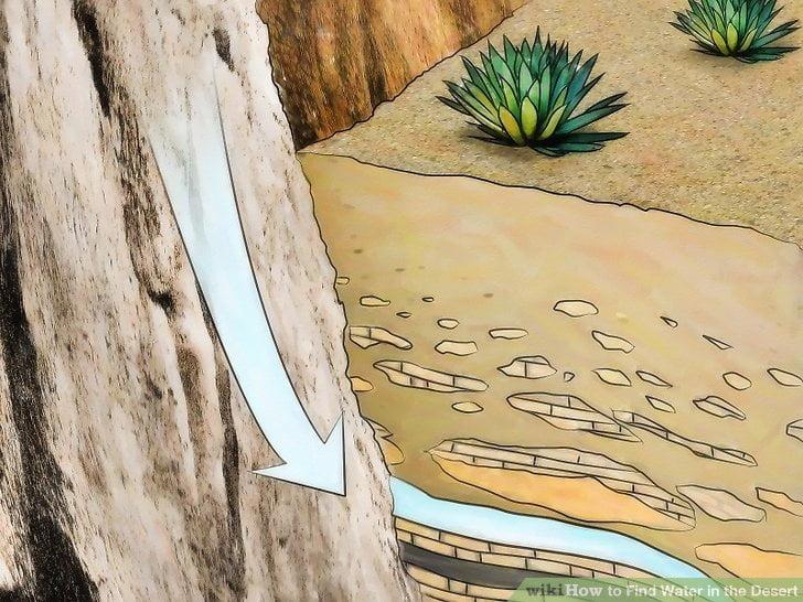 Ukształtowanie terenu, takie jak formacje skalne, mogą być ważną wskazówką przy poszukiwaniu wody na pustyni