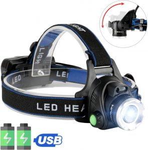 JOMARTO latarka czołowa LED, ładowana przez USB, wodoszczelna IPX4, T004 z 4 trybami i regulowanym kątem świecenia.
