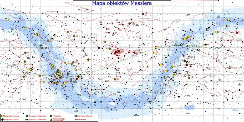 Mapa nieba obiektów  Messiera